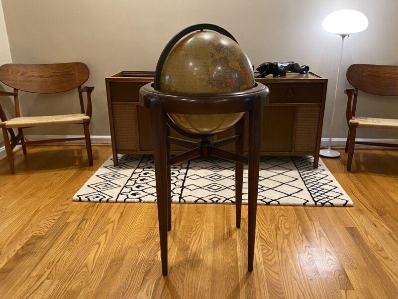 Midcentury Walnut or Mahogany Floor Globe by Replogle 1950's