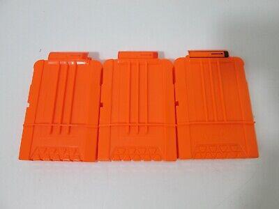 3 Nerf Dart Gun 6 Round Ammo Magazine Clip N-Strike Elite Solid Orange Lot of 3
