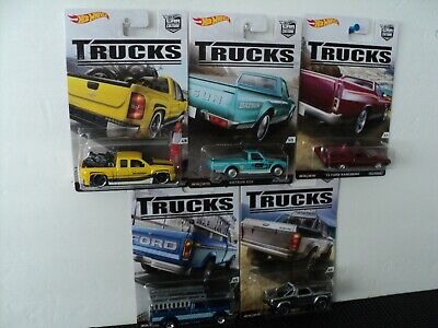 2016 Hot Wheels Car Culture TRUCKS (Set of 5) Ford Chevy Datsun Real Riders