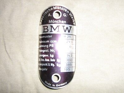 Bmw Motorcycle Bike R252 R51 Original Frame Serial Number Label Old Never Used