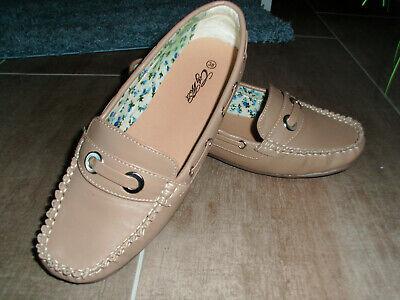 Slipper Damen Mokassins Schuhe City Walk Gr. 38 Farbe beige (Slipper Damen Mokassins)