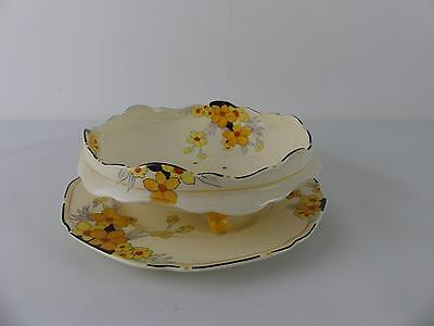 (RefAJX) Vintage Antique Crown Ducal Sunburst Fruit Bowl Dish and Plate