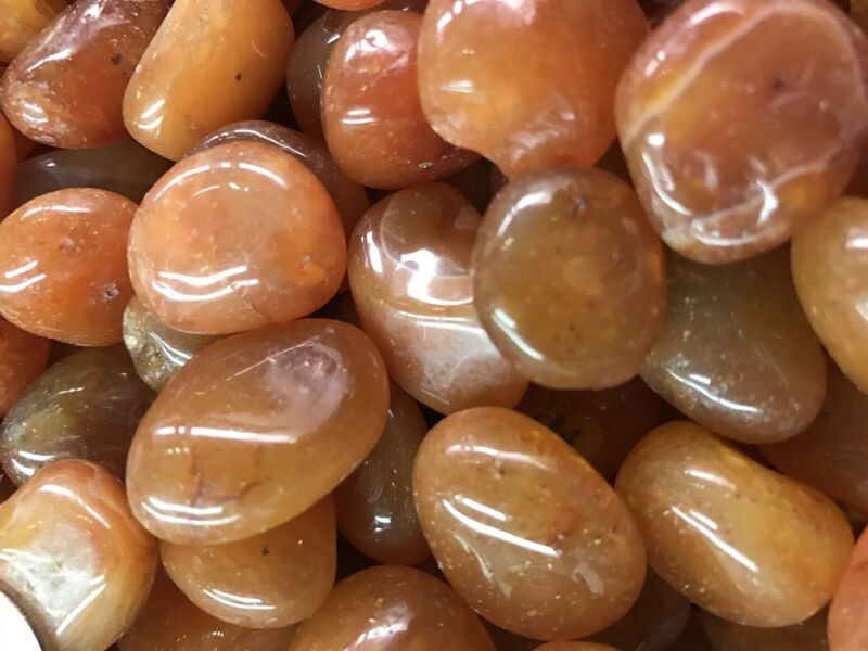 3000 Carat Lots of Polished Tumbled Carnelian + FREE Faceted Gemstone - HIGH END