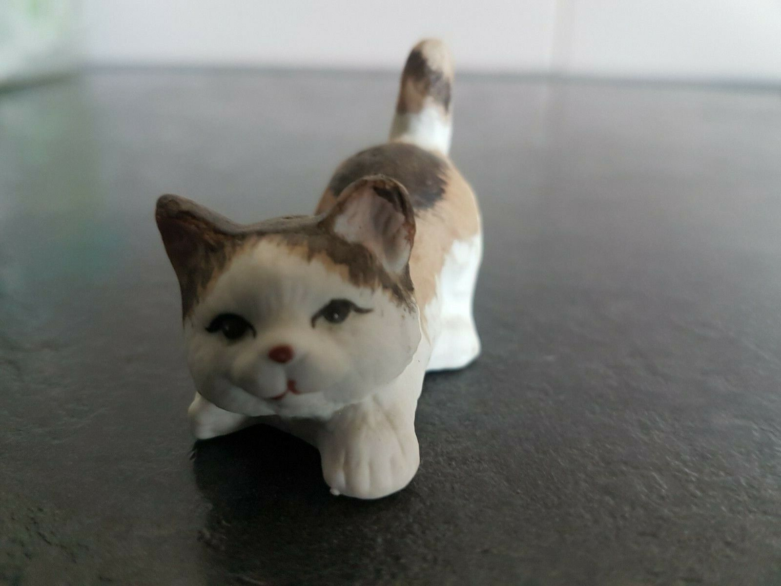 Figurine chat en porcelaine : chat multicolore marron l.5 cm #ckdb