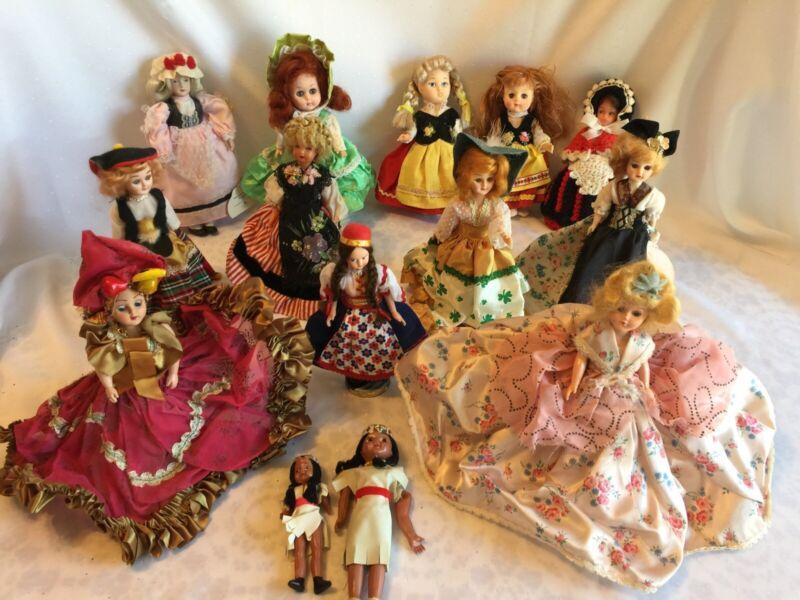 14 Vintage INTERNATIONAL Themed Dolls Estate Collection Vinyl Plastic Porcelain