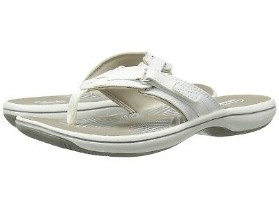 Clarks BREEZE SEA Womens White Synthetic 25508 Thong Sandals
