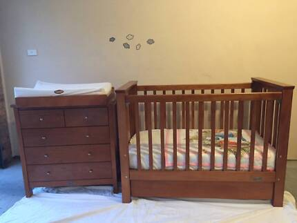 Nursery Furniture - Cot with Drawers & Drawer/Change Table