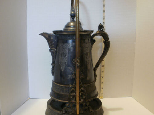 Antique Simpson Hall Miller Silver Plated Tipping Tea Coffee Pot
