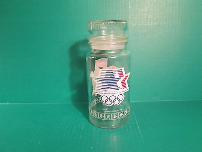 1984 Olympics In Los Angeles M&M Clear Glass Anchor Hocking Jar/Container