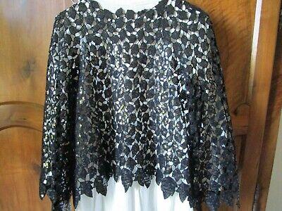 Authentique veste noire coco chanel guipure sequins paillettes marqué 38 (44)