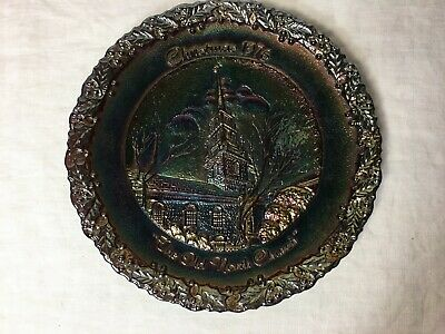 Fenton Christmas in America 7 Carnival Glass Plate 1976 Old North Church ()