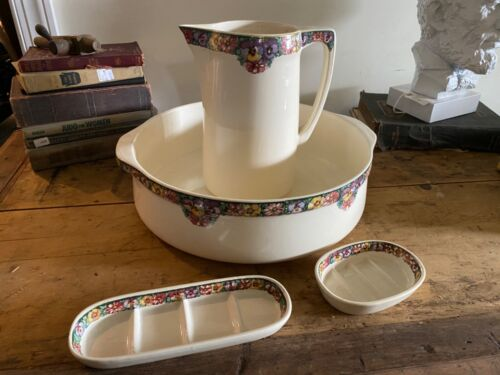 Antique Villeroy & Boch wash Basin set Bosna pattern Bed and Breakfast Decor