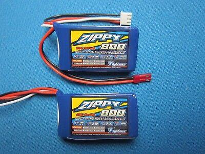 7.4v Lipo Battery Mini (2 ZIPPY 800mAh 2S 7.4V 20C 30C LIPO BATTERY JST MINI MICRO PLANES QUAD CAR HELI )