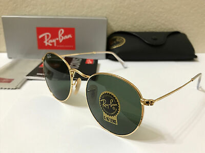 RAY-BAN Sunglasses ROUND METAL Gold Frame With Green Lens (Sunglasses With Round Lenses)