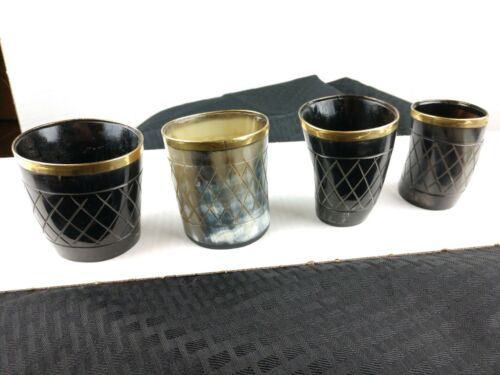 Set of 4 pieces Handicrafted Natural Horn Glass 3 inch Polished with brass trim