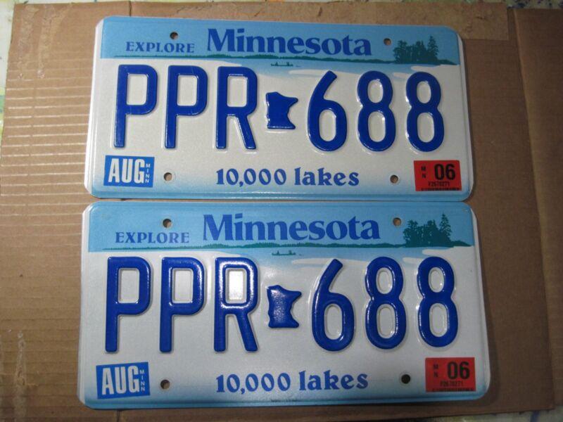 Set of 2006 Minnesota Embossed license plates