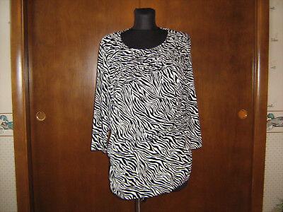 2 White Zebra -  Chico's Black & White Zebra Print KNIT TOP sz 2 M scoop neck ruching 3/4 sl