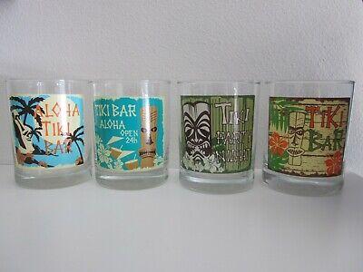 4 HAWAIIAN TIKI ALOHA HAWAII Bar Glasses Barware Drinking Party Bar Glass