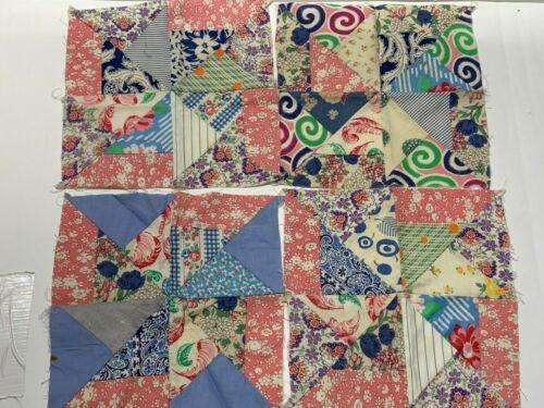 4 Vintage Feedsack Quilt Blocks Feedsack Fabrics Patchwork Pinwheel Pattern