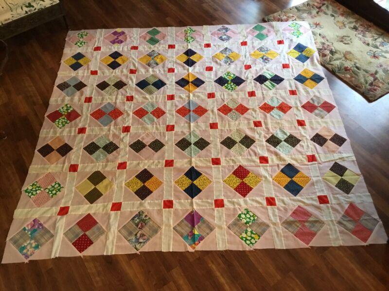 Vintage c1960 Pink 4-patch Diamond Quilt Top LARGE 86x86 Ex Cond Handmade