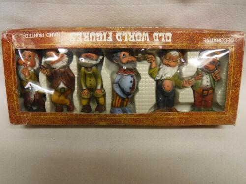 6 Old World vtg Figures lot Hand Painted mini Gnomes Elves Dwarfs Hummel like