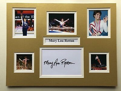 """Gymnastics Mary Lou Retton Signed 16"""" X 12"""" Double Mounted Display"""