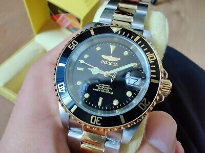 Invicta Pro Diver Black Gold NH36 Automatic Movement Solid Metal Bracelet Watch