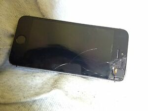 Black iphone 5s cracked