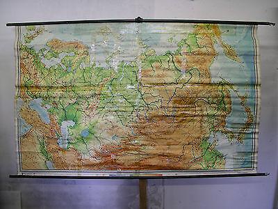 Schulwandkarte Europa Russia Ukraine North Asian half World Map 1960 238x146