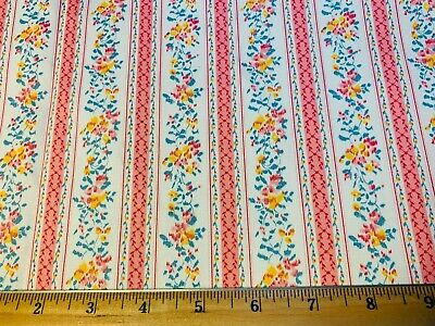 Vintage Cotton Fabric BEAUTIFUL Heavy Pillow Ticking Floral Stripes UNUSED