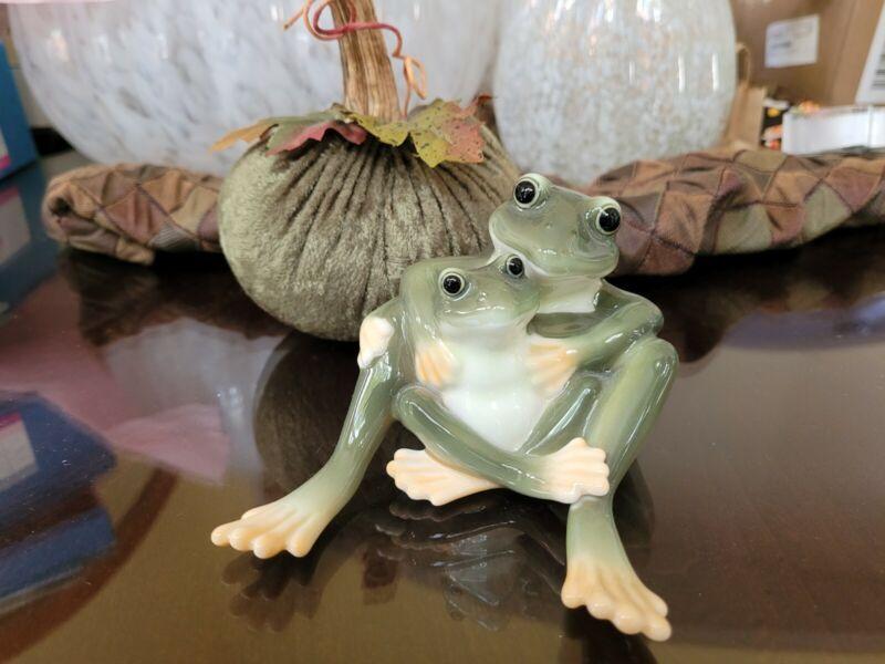 Franz Porcelain- Mother & Daughter Frog  Figurine