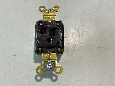 One Hubbell 20a 125v Brown Single Outlet Nos