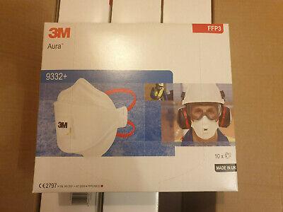 10x 3M™ Aura Atemschutzmaske 9332+ FFP3 m. Ventil Mundschutz Maske ORGINALKARTON