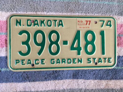 1974 1977 North Dakota License Plate 398 481