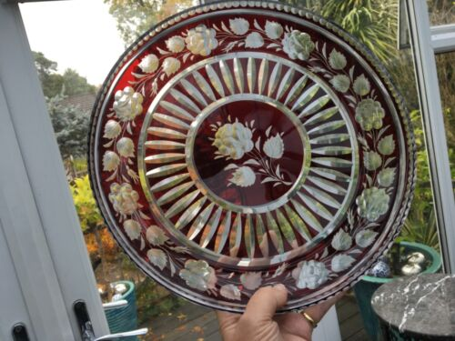 Rare ANTIQUE Moser ruby cut clear glass bowl dish centrepiece engraved roses🎁