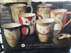 NEW: Elite Couture Owl City - 6 piece ceramic mug set