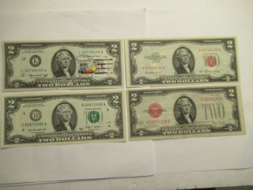 FOUR $2 Notes, 1928 G, 1953, 1976 1st Day-Mesa 85201, 2009