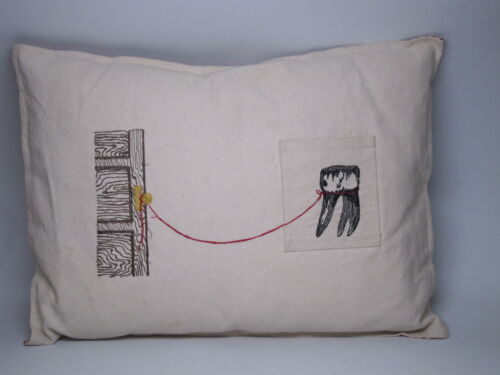 Tooth Fairy Pillow Embroidered Door Doorknob String Funny Hand Made Artist Lost