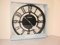 11 Round Sharp Wall Clock Metal Hands Glass Lens Battery Powered SPC3500A