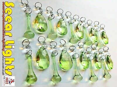 20 SAGE GREEN CHANDELIER GLASS CRYSTALS DROPS VINTAGE CHIC PRISMS BEADS DROPLETS