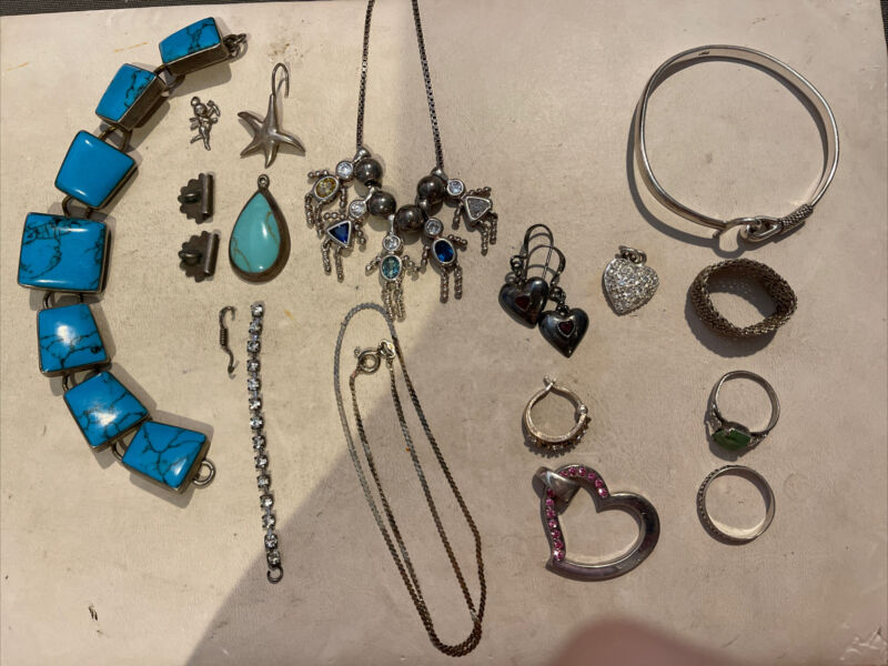 Lot Of Assorted Sterling Silver Jewelry & Misc Pieces 97 Grams