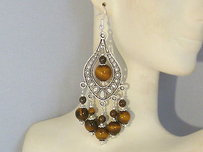 Gemstone Earrings - Tigers Eye & 925 Sterling Silver - long chandeliers / (Drop Tigers Eye Earrings)