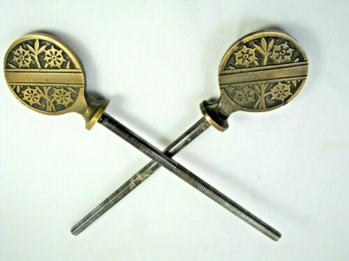 Pair of Antique Eastlake Brass Mirror Mounts, Bolts, Screws, 7 in