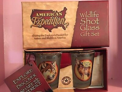 ( NEW~*GRAY WOLF*~Wildlife Shot Glass~Gift Set~American Expedition ~2 1/2
