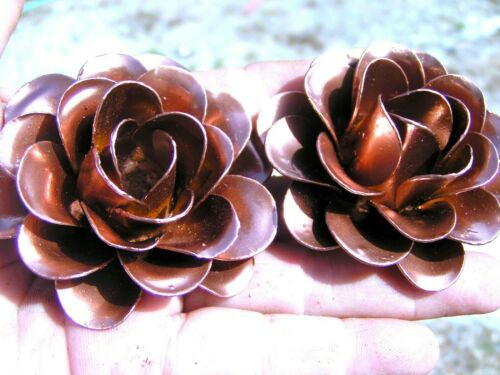 2 Large Copper colored roses, metal flowers, accents, embellishments, crafting