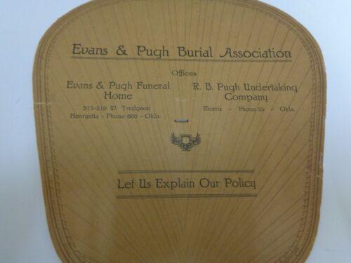 Evans Pugh Burial Funeral Home Advertising Hand Fan Oklahoma