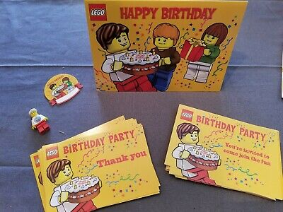 Lego Birthday Invitations (15) and Thank you postcards (15) & 1 Large - Lego Birthday Invitations
