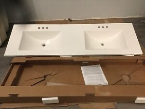 Double Marble Vanity Top 60.25 x 18.75 inches