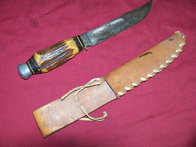 "Vintage Eye Brand Carl Schlieper Solingen Germany Stag Handle Hunting Knife 10"""