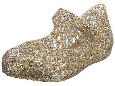 Genuine New Mini Melissa Campana Zig Zag Shoes Gold Glitter   Size 5 10 Toddler